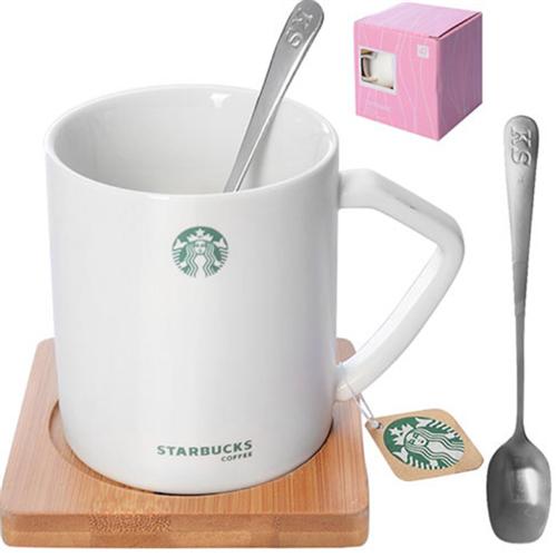 """Чашка с подставкой и ложкой """"Starbucks"""" R85703 380мл."""