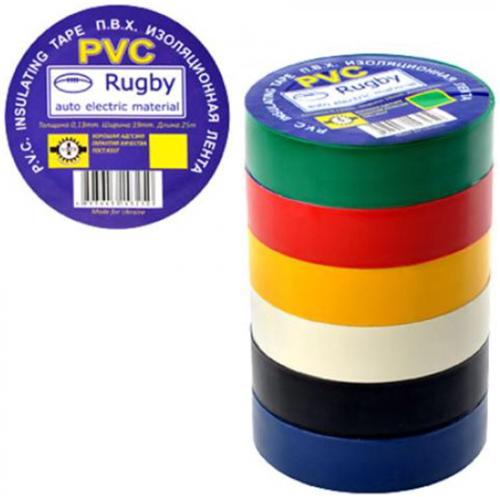 """Изолента ПВХ 50м""""Rugby""""ассорти 10шт/уп"""