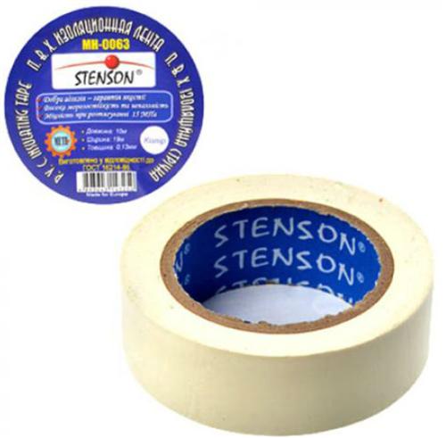 Изолента ПВХ 25м. белая Stenson МН-0064 10шт/уп.