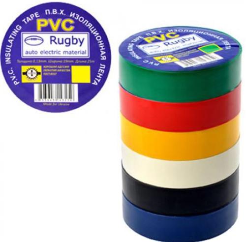 """Изолента ПВХ 25м. ассорти """"Rugby"""" 10шт/уп."""